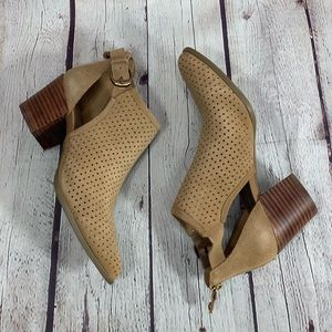 NEW Anne Klein Brown Perforated Suede Ankle Bootie